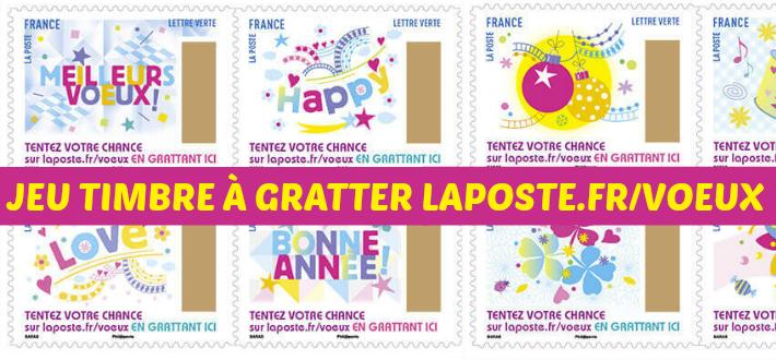 Jeu code timbre à gratter La Poste 2017 - Laposte.fr/voeux
